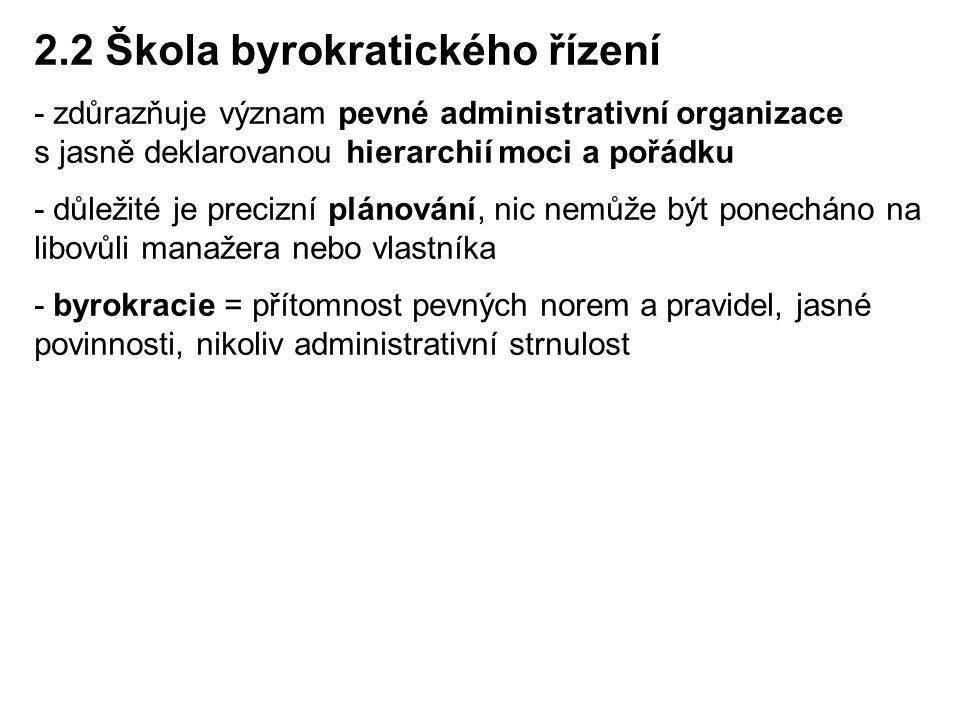 2.2 Škola byrokratického řízení