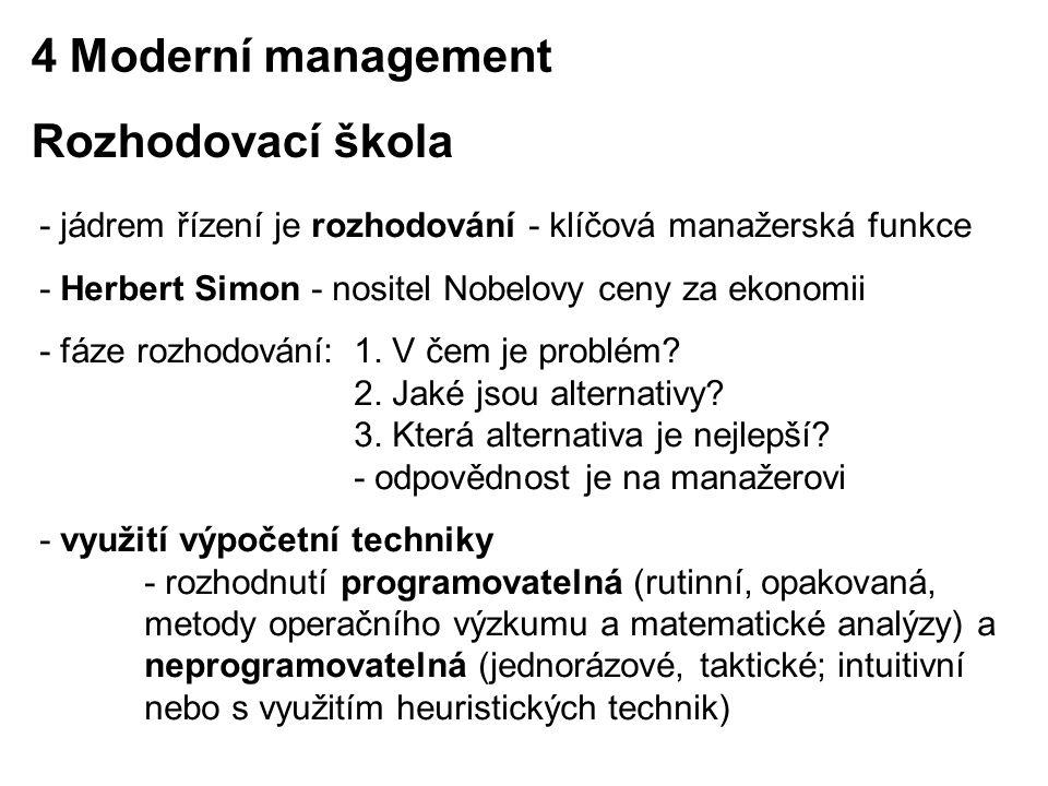 4 Moderní management Rozhodovací škola