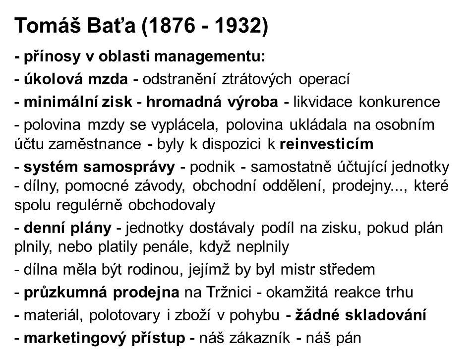 Tomáš Baťa (1876 - 1932) - přínosy v oblasti managementu: