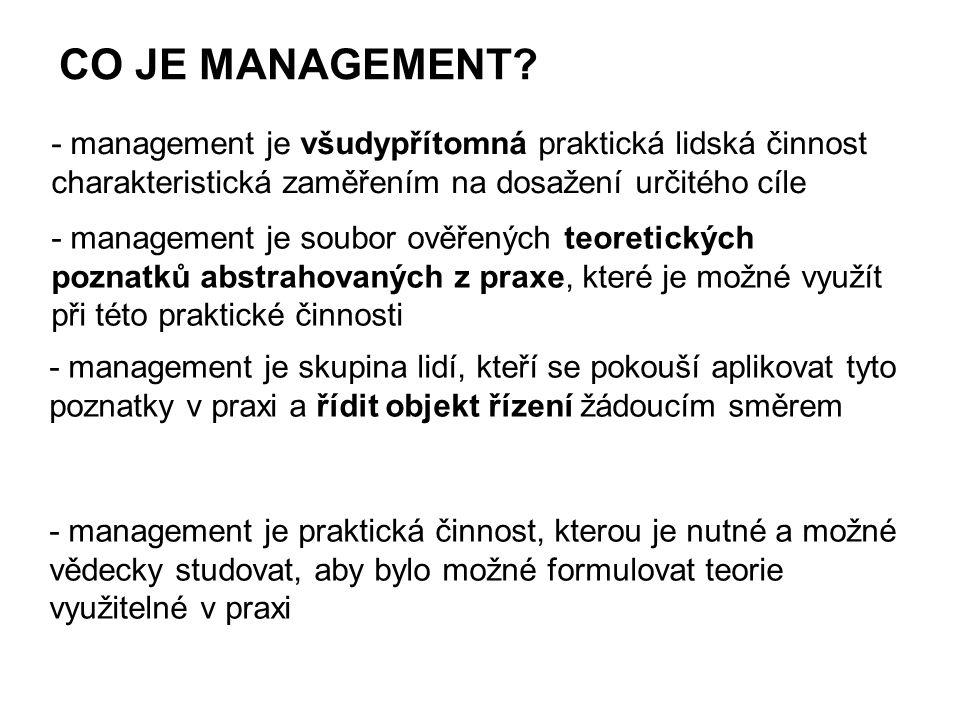 CO JE MANAGEMENT - management je všudypřítomná praktická lidská činnost charakteristická zaměřením na dosažení určitého cíle.