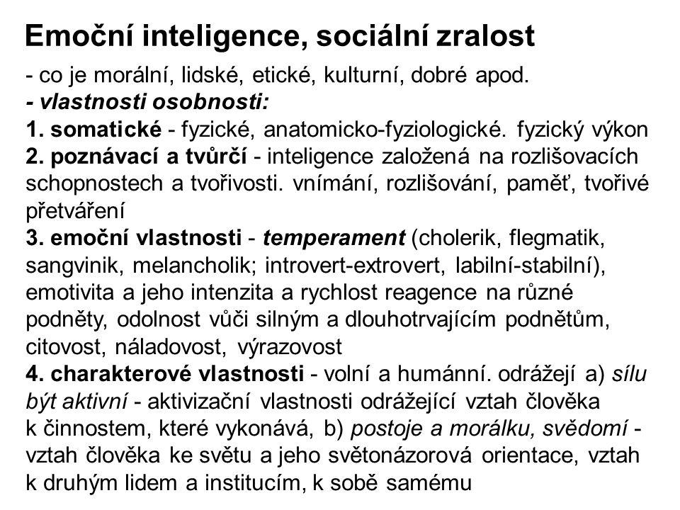 Emoční inteligence, sociální zralost