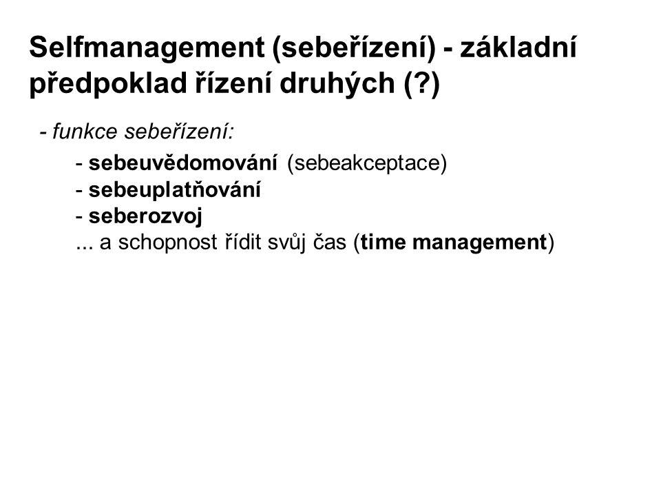 Selfmanagement (sebeřízení) - základní předpoklad řízení druhých ( )