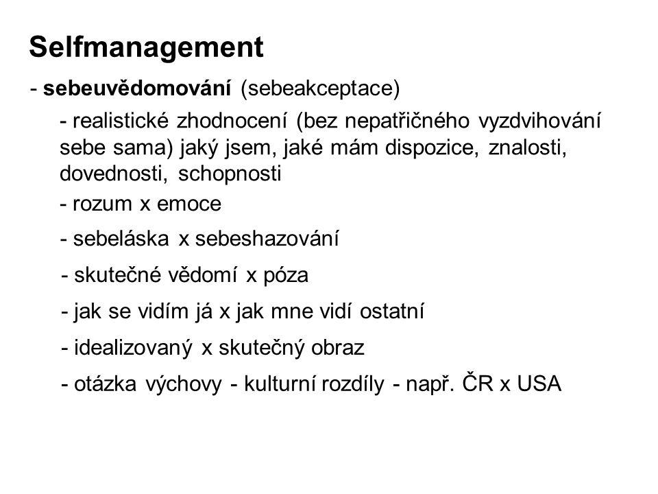Selfmanagement - sebeuvědomování (sebeakceptace)