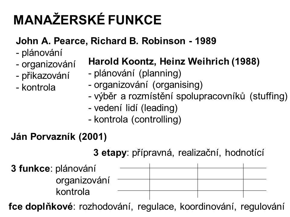MANAŽERSKÉ FUNKCE John A. Pearce, Richard B. Robinson - 1989