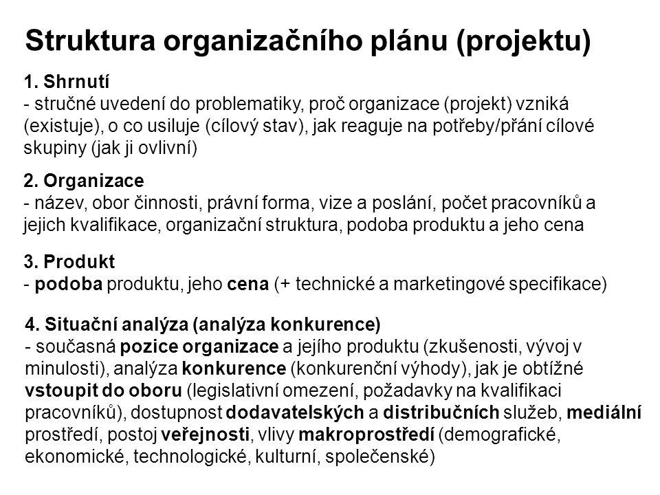 Struktura organizačního plánu (projektu)