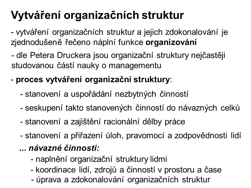Vytváření organizačních struktur