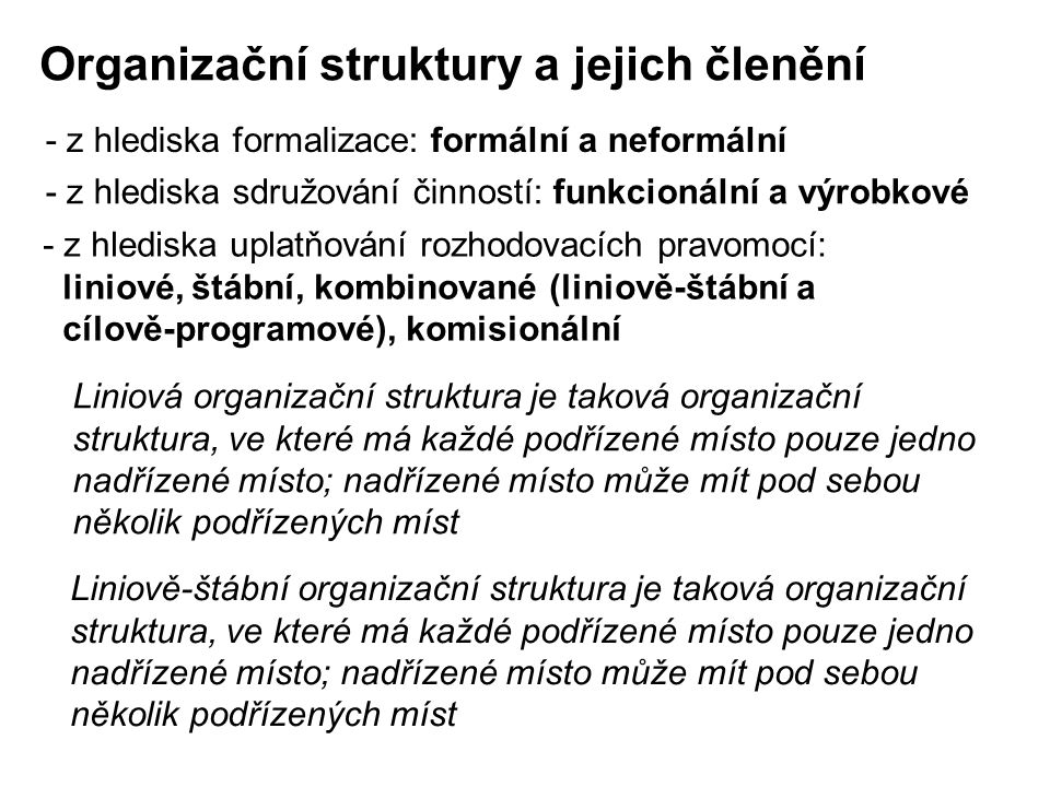 Organizační struktury a jejich členění