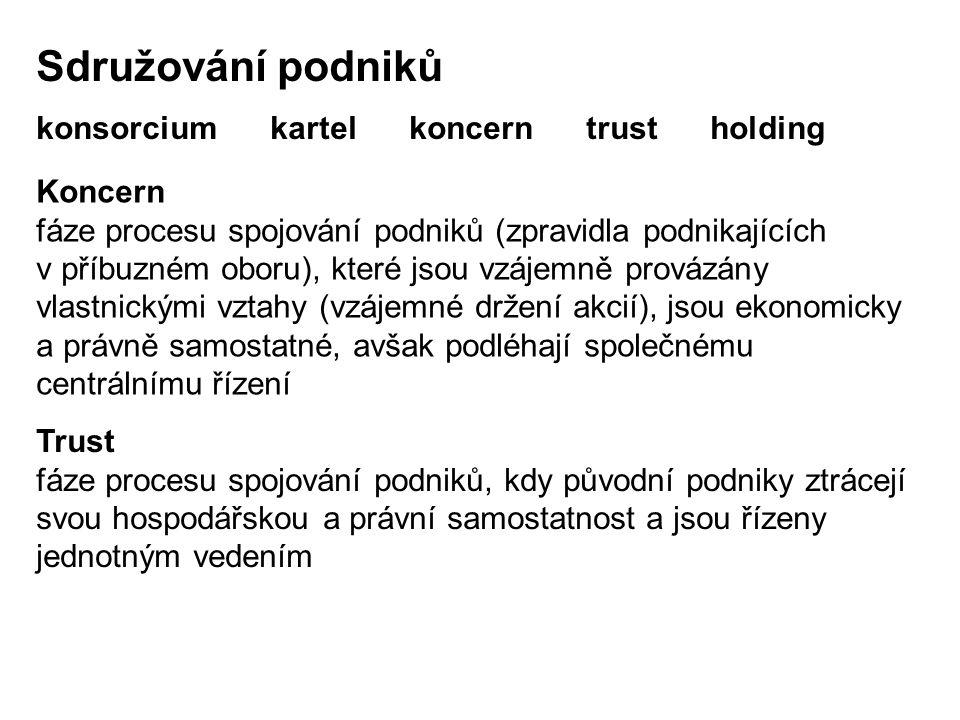 Sdružování podniků konsorcium kartel koncern trust holding Koncern