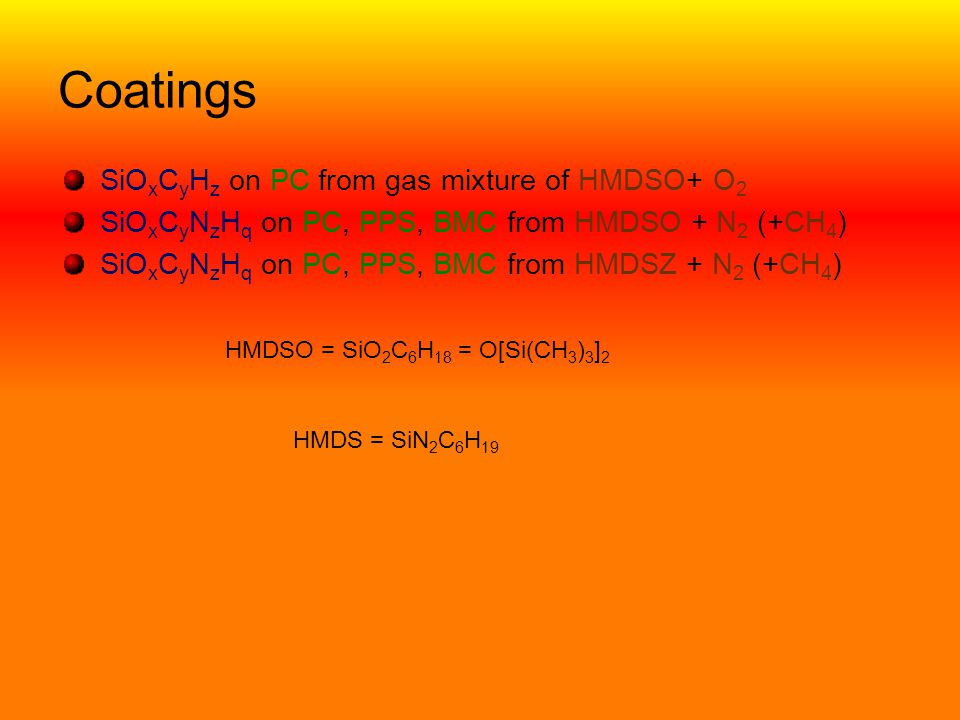 Coatings SiOxCyHz on PC from gas mixture of HMDSO+ O2