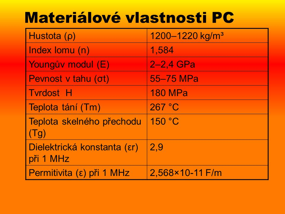 Materiálové vlastnosti PC