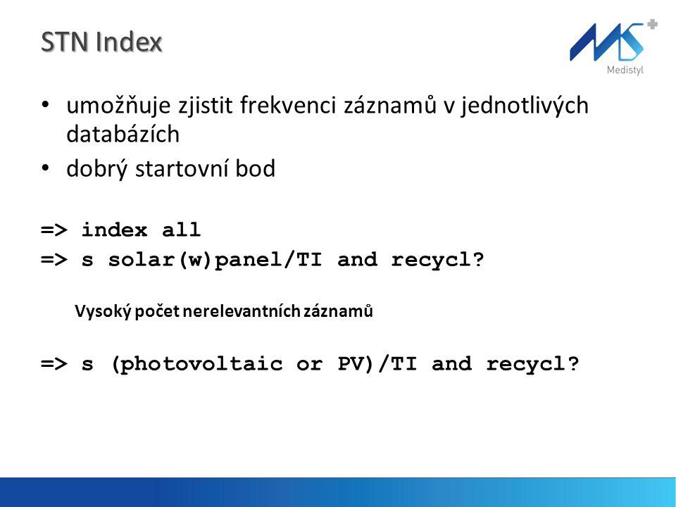 STN Index umožňuje zjistit frekvenci záznamů v jednotlivých databázích