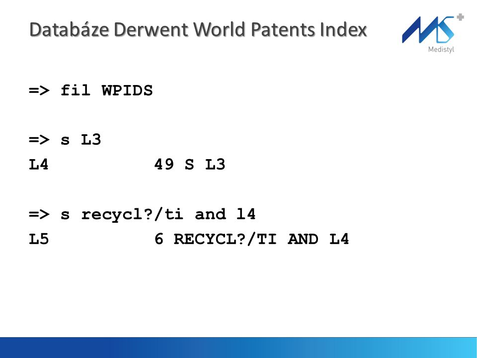 Databáze Derwent World Patents Index