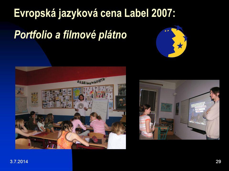 Evropská jazyková cena Label 2007: Portfolio a filmové plátno
