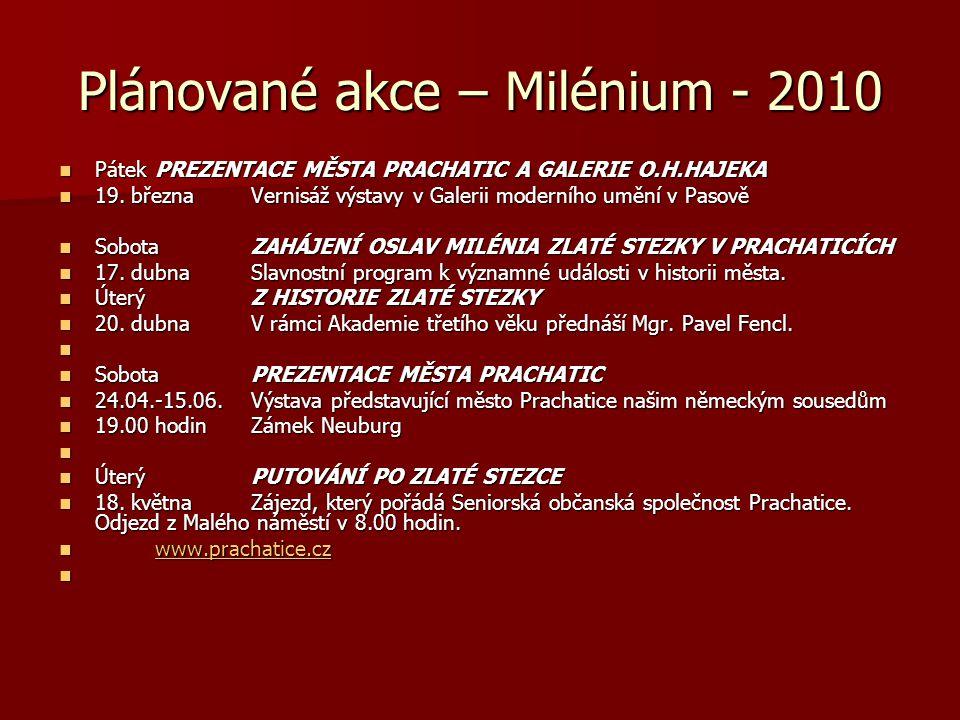 Plánované akce – Milénium - 2010