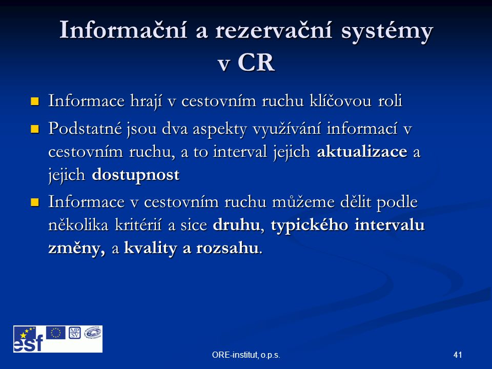 Informační a rezervační systémy v CR