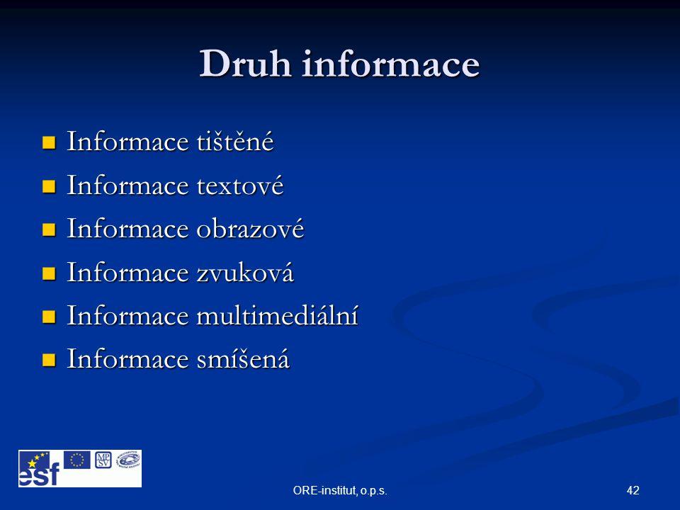 Druh informace Informace tištěné Informace textové Informace obrazové
