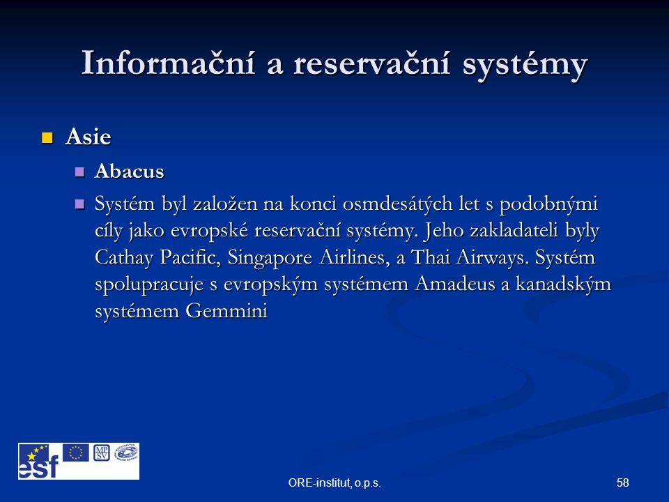 Informační a reservační systémy