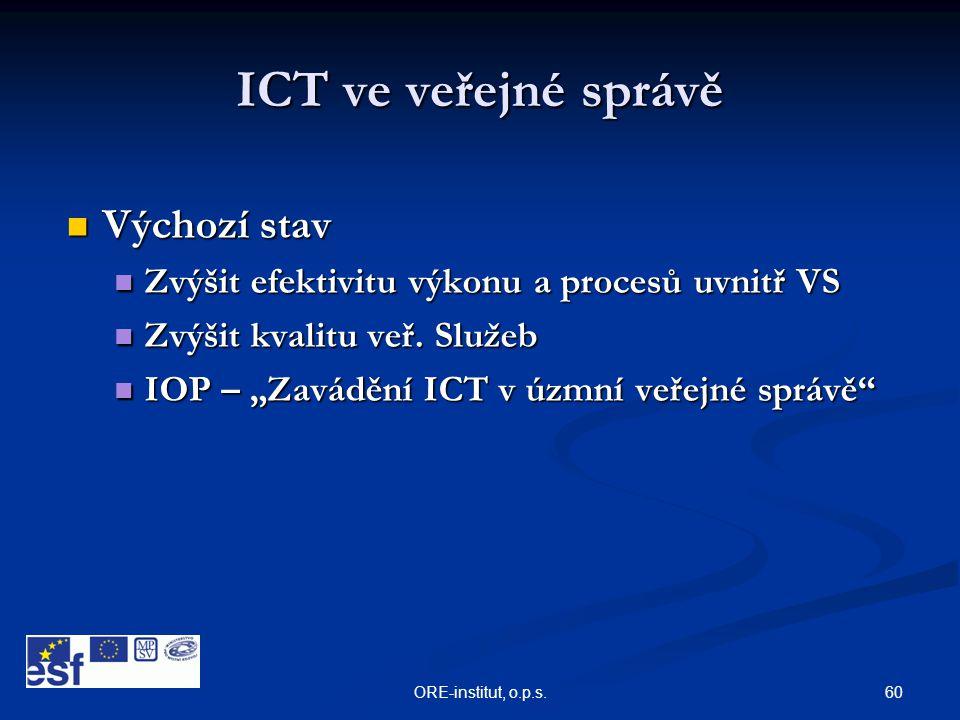 ICT ve veřejné správě Výchozí stav