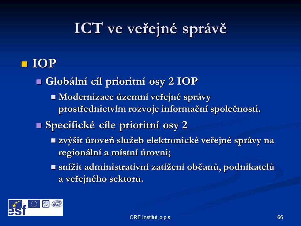 ICT ve veřejné správě IOP Globální cíl prioritní osy 2 IOP