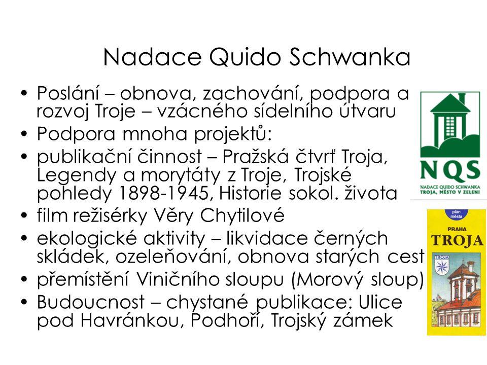 Nadace Quido Schwanka Poslání – obnova, zachování, podpora a rozvoj Troje – vzácného sídelního útvaru.