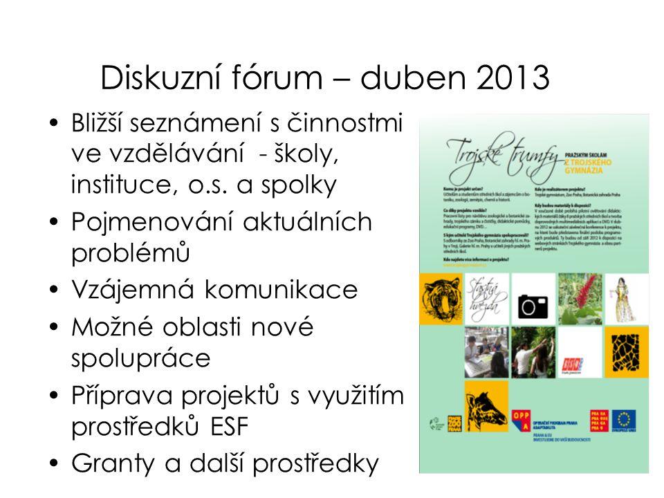 Diskuzní fórum – duben 2013 Bližší seznámení s činnostmi ve vzdělávání - školy, instituce, o.s. a spolky.