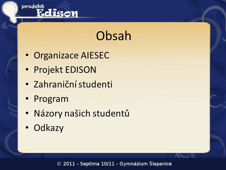 Obsah Organizace AIESEC Projekt EDISON Zahraniční studenti Program