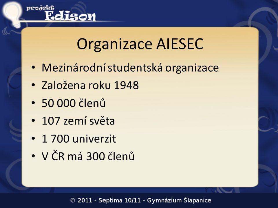 Organizace AIESEC Mezinárodní studentská organizace Založena roku 1948