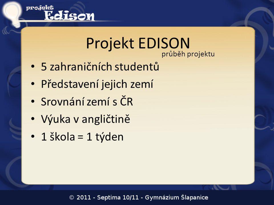 Projekt EDISON 5 zahraničních studentů Představení jejich zemí