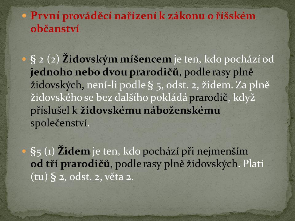 První prováděcí nařízení k zákonu o říšském občanství