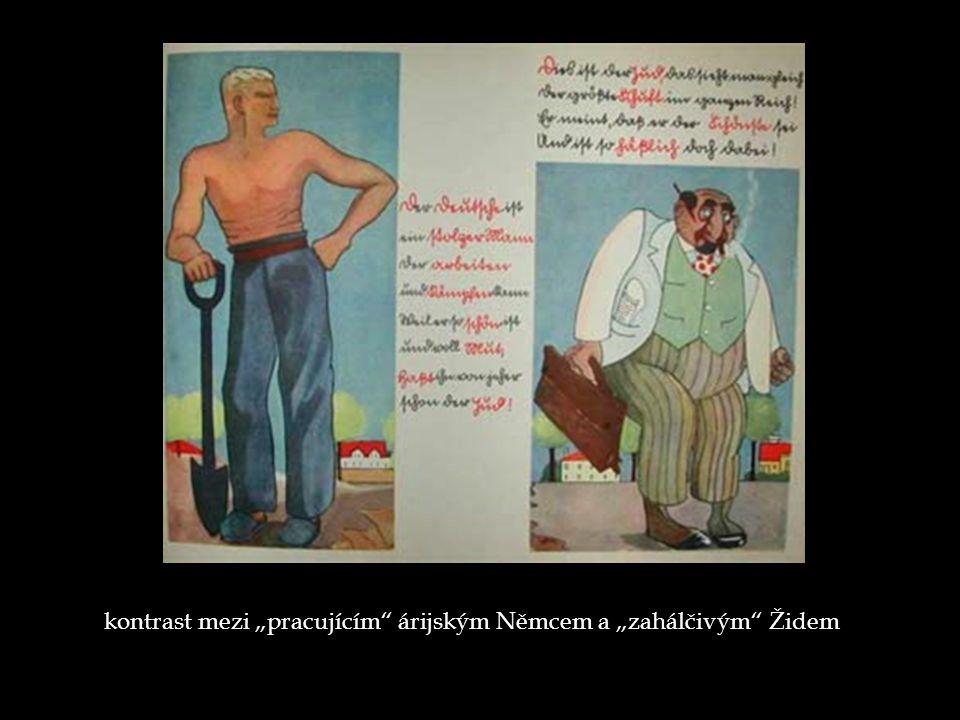 """kontrast mezi """"pracujícím árijským Němcem a """"zahálčivým Židem"""