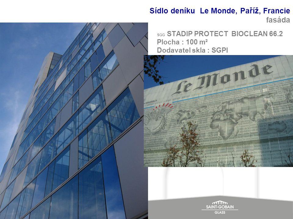 SGG STADIP PROTECT BIOCLEAN 66.2 Plocha : 100 m² Dodavatel skla : SGPI