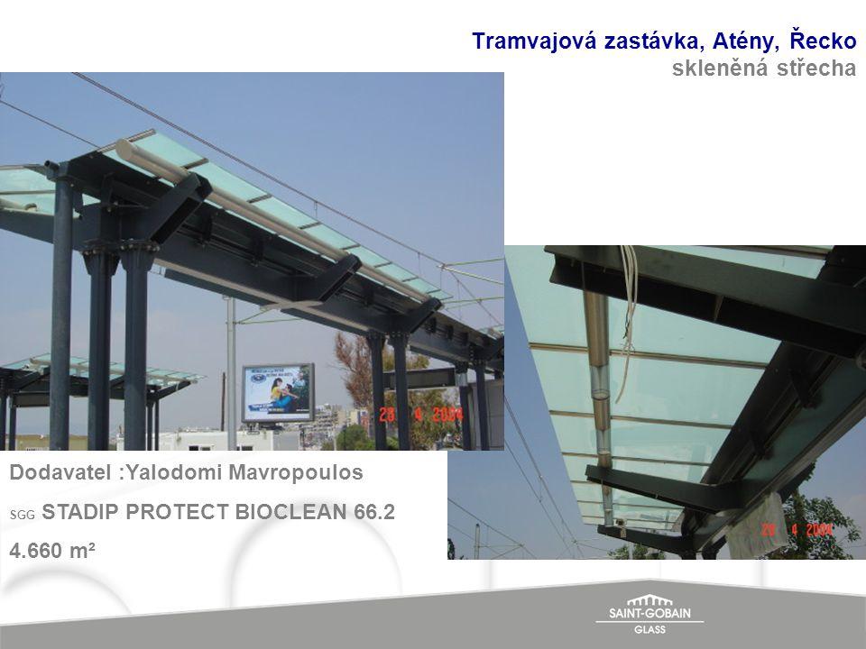 Tramvajová zastávka, Atény, Řecko skleněná střecha