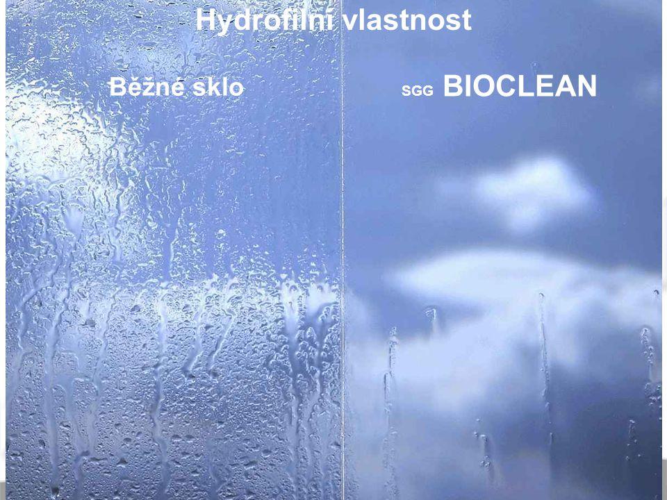 Hydrofilní vlastnost Běžné sklo SGG BIOCLEAN