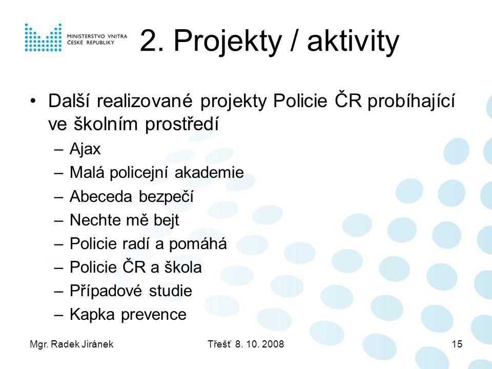 2. Projekty / aktivity Další realizované projekty Policie ČR probíhající ve školním prostředí. Ajax.