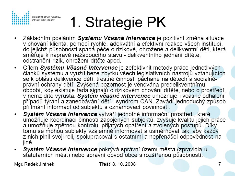 1. Strategie PK