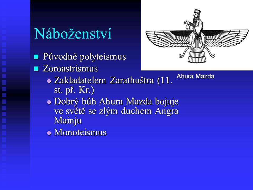 Náboženství Původně polyteismus Zoroastrismus