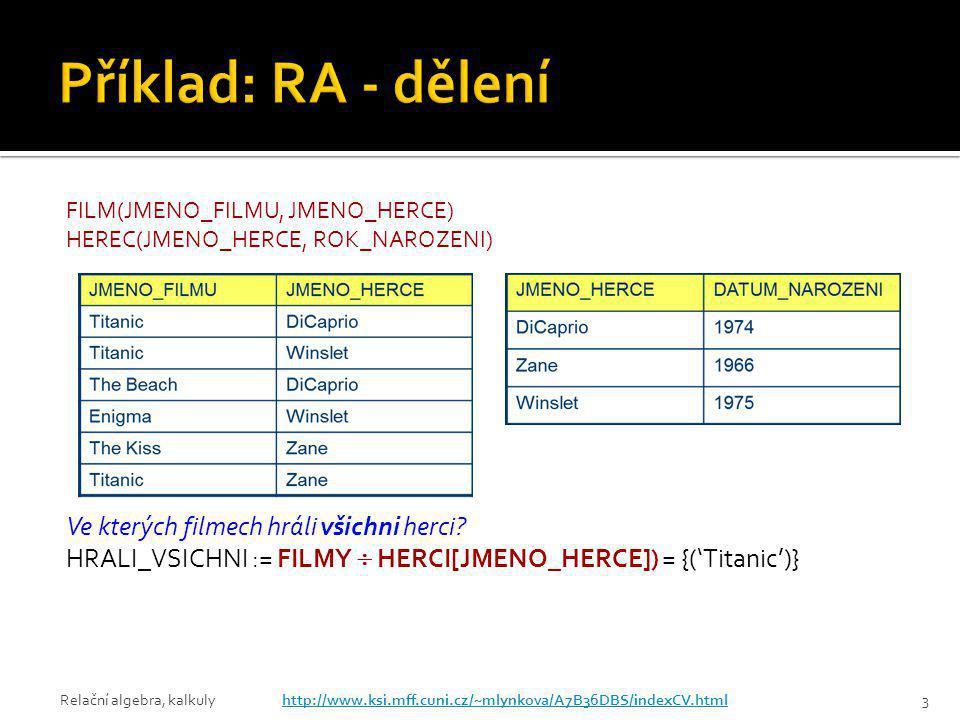 Příklad: RA - dělení Ve kterých filmech hráli všichni herci