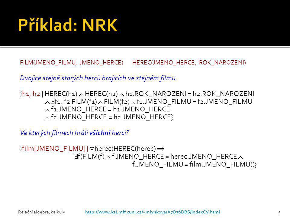 Příklad: NRK Dvojice stejně starých herců hrajících ve stejném filmu.