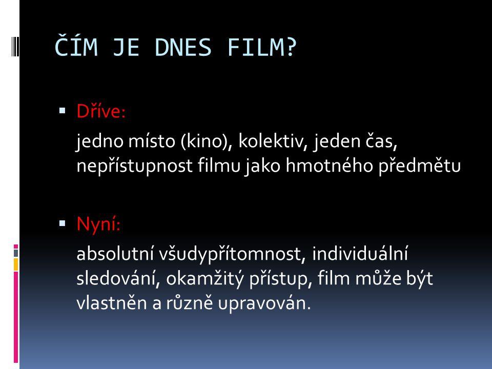 ČÍM JE DNES FILM Dříve: jedno místo (kino), kolektiv, jeden čas, nepřístupnost filmu jako hmotného předmětu.