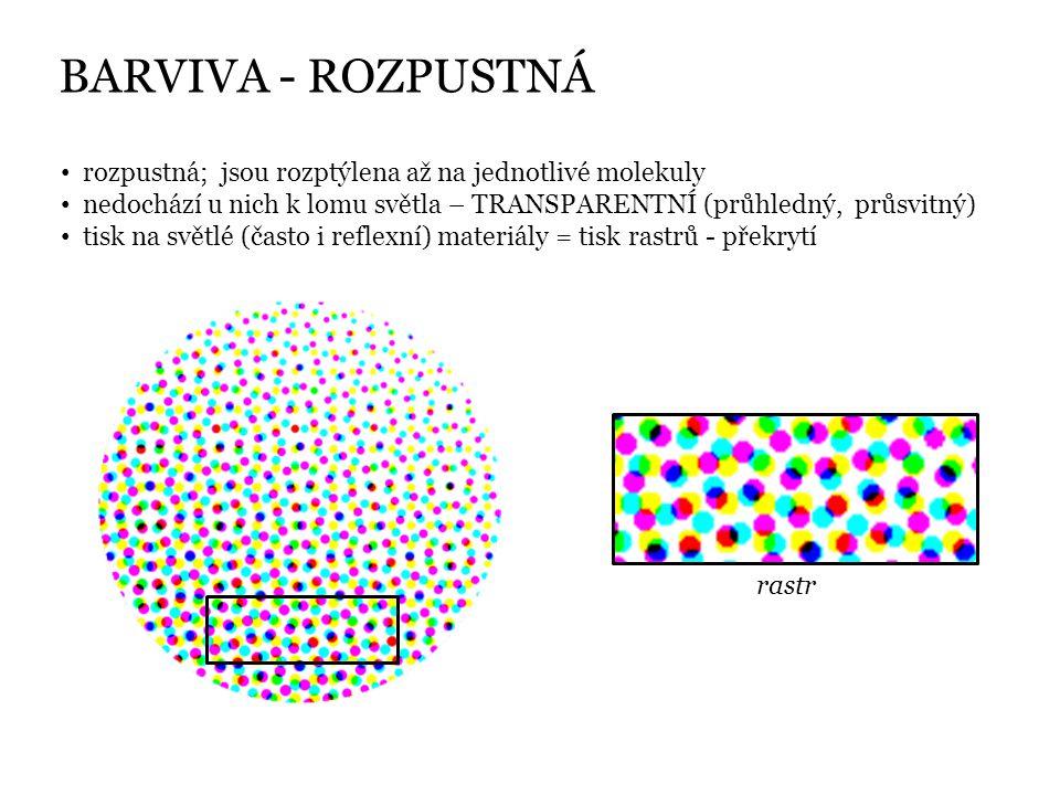 BARVIVA - ROZPUSTNÁ rozpustná; jsou rozptýlena až na jednotlivé molekuly. nedochází u nich k lomu světla – TRANSPARENTNÍ (průhledný, průsvitný)
