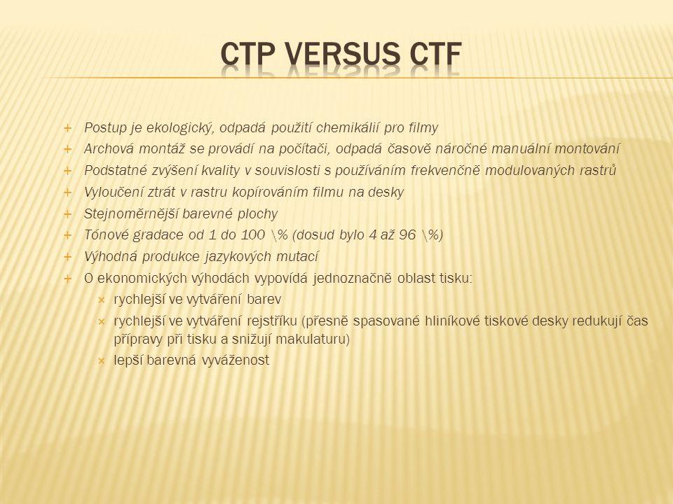 Ctp versus ctf Postup je ekologický, odpadá použití chemikálií pro filmy.