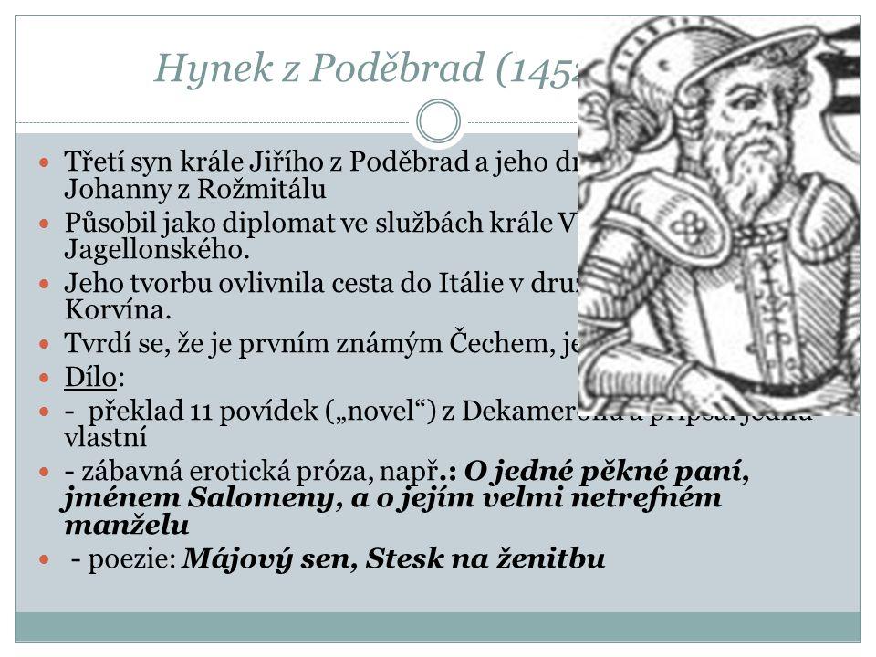 Hynek z Poděbrad (1452–1492) Třetí syn krále Jiřího z Poděbrad a jeho druhé manželky Johanny z Rožmitálu.