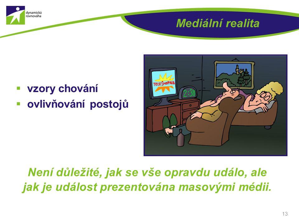 Mediální realita vzory chování. ovlivňování postojů.