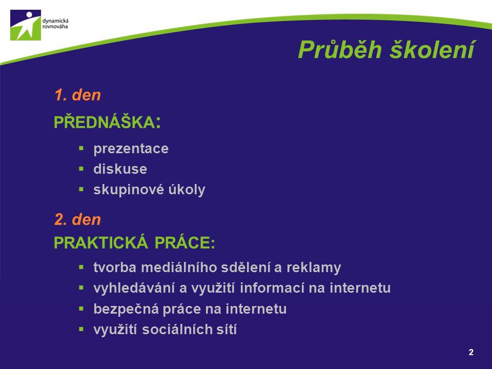 Průběh školení 1. den PŘEDNÁŠKA: 2. den PRAKTICKÁ PRÁCE: prezentace