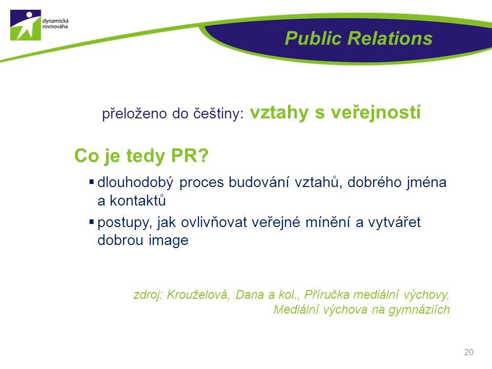 přeloženo do češtiny: vztahy s veřejností