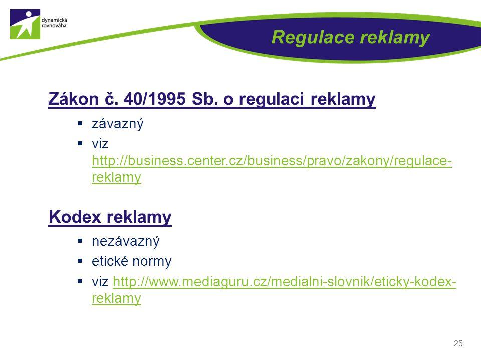 Regulace reklamy Zákon č. 40/1995 Sb. o regulaci reklamy Kodex reklamy