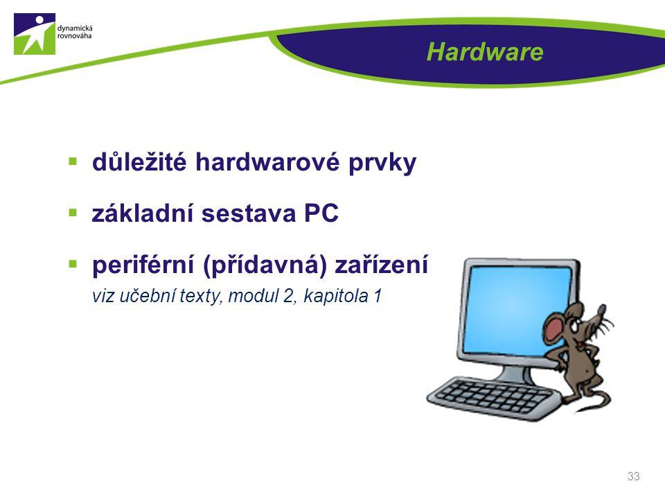 Hardware důležité hardwarové prvky. základní sestava PC.
