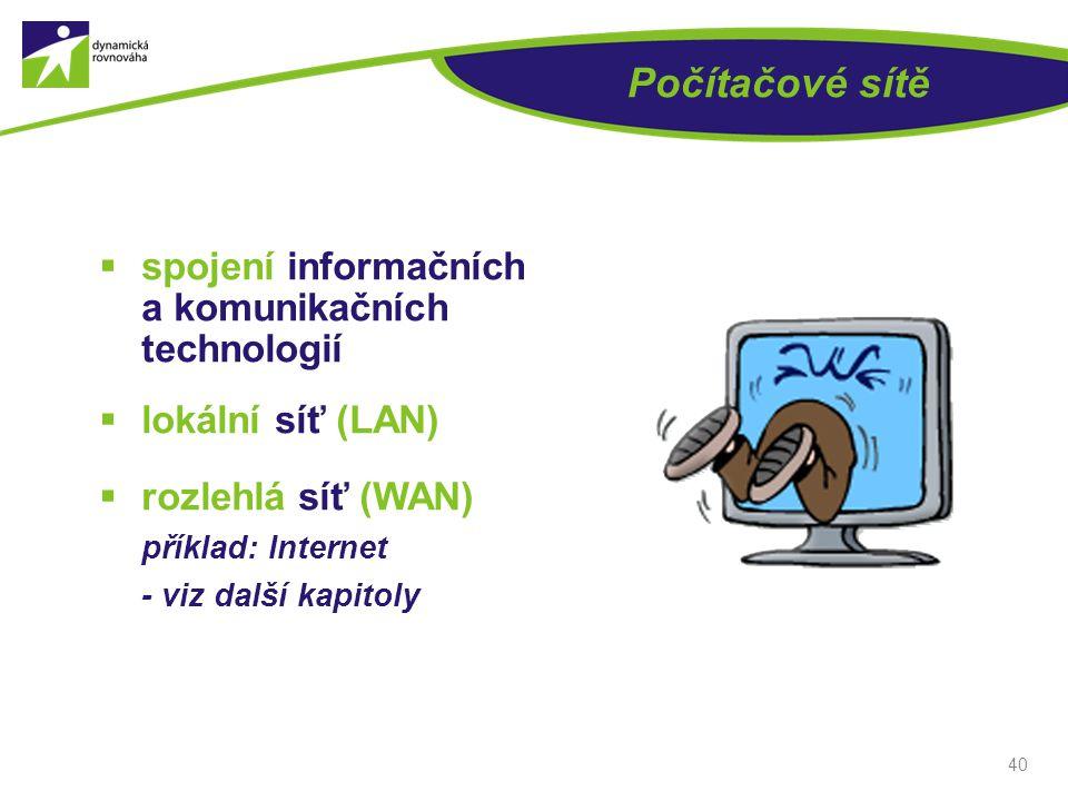 Počítačové sítě spojení informačních a komunikačních technologií