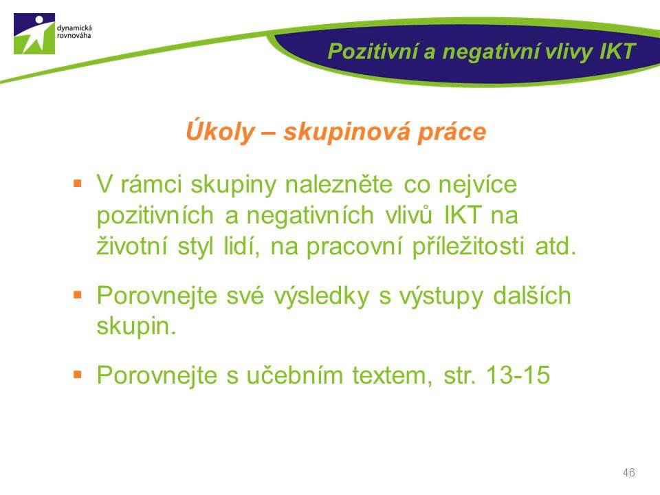 Pozitivní a negativní vlivy IKT