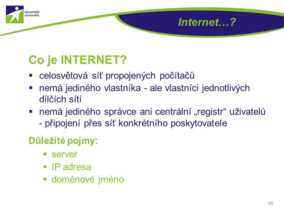 Co je INTERNET Internet… celosvětová síť propojených počítačů